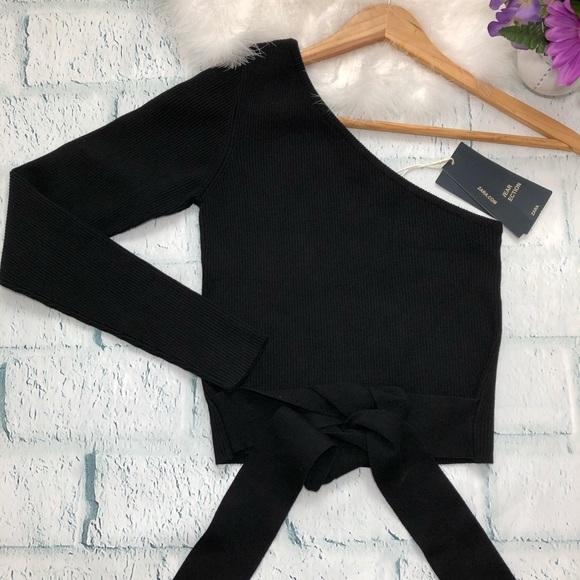 ce57f599d51c0 NWT Zara Knit Black Cropped one Sleeve top size M